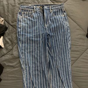 American eagle blue and white striped denim jeans